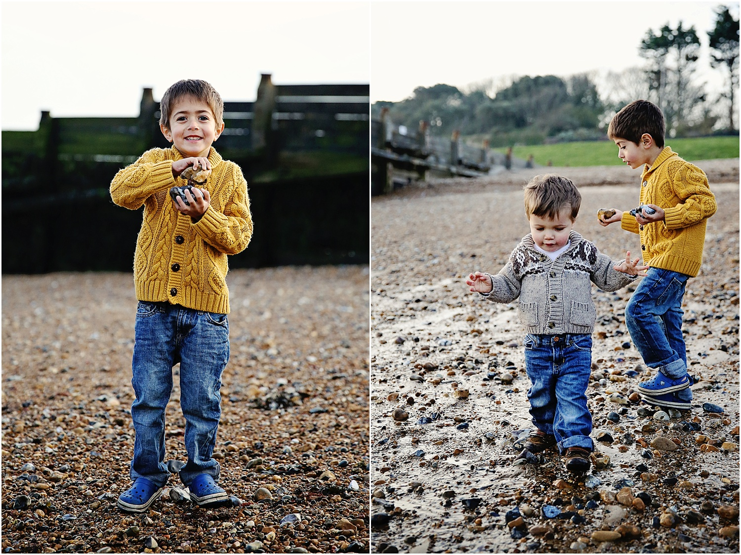 Whitstable beach photography family child brothers boys playing