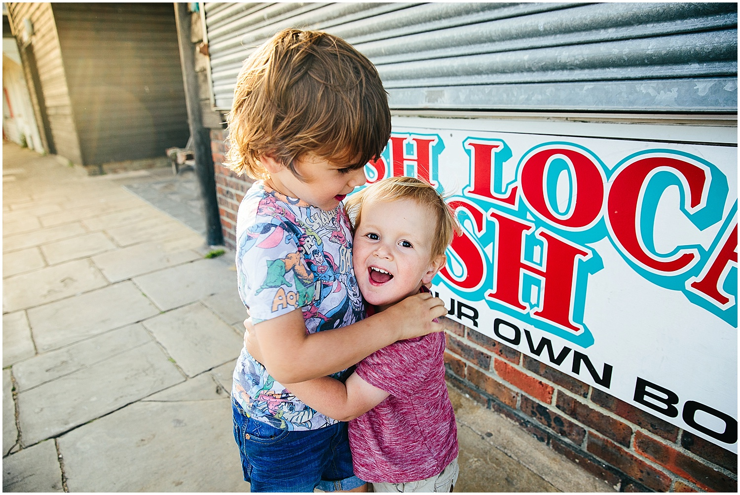 brothers at fish shop folkestone harbour family photographer kent