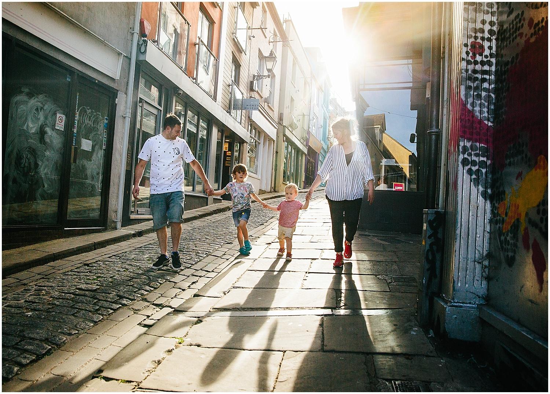 family walking on old high street folkestone kent kids family photographer