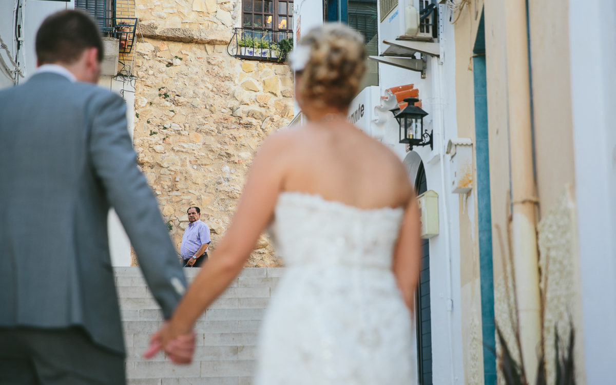 bride and groom calpe old town costa blanca spain destination wedding photographer