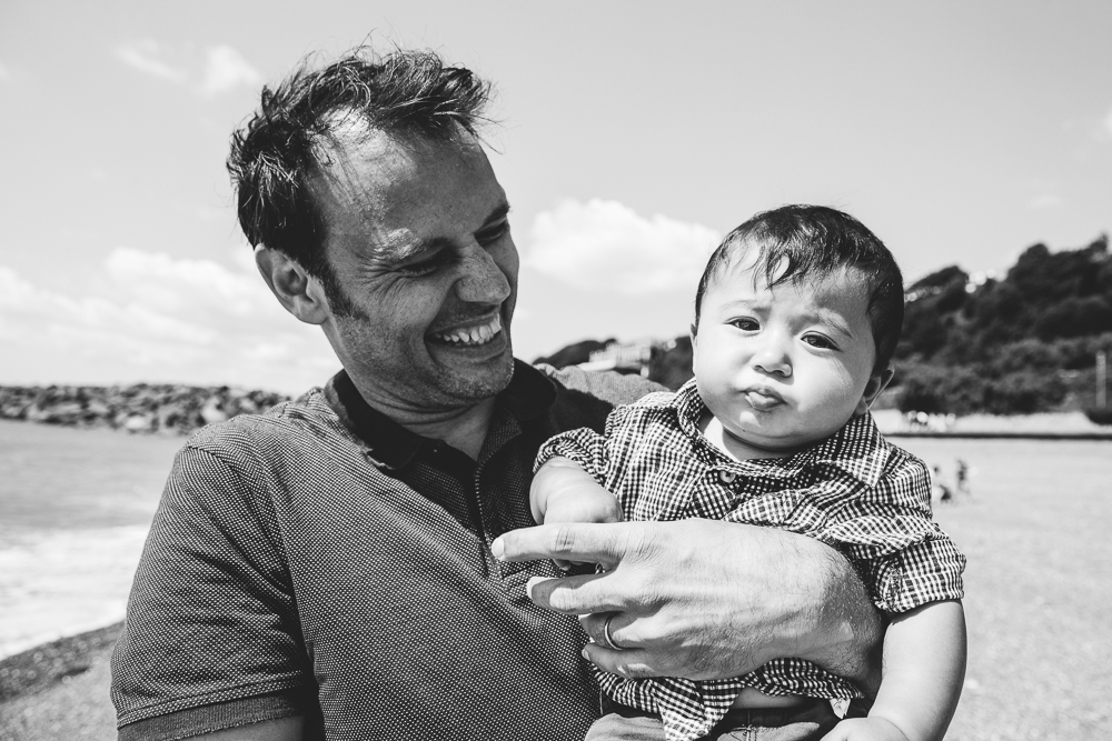 family photography of baby boy and father at beach, folkestone, kent