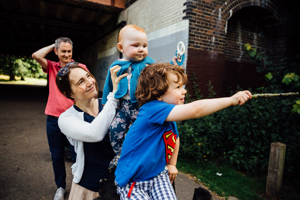 BALHAM LONDON FAMILY PHOTOGRAPHY - FAMILY PORTRAIT SUPERMAN ACTION SHOT