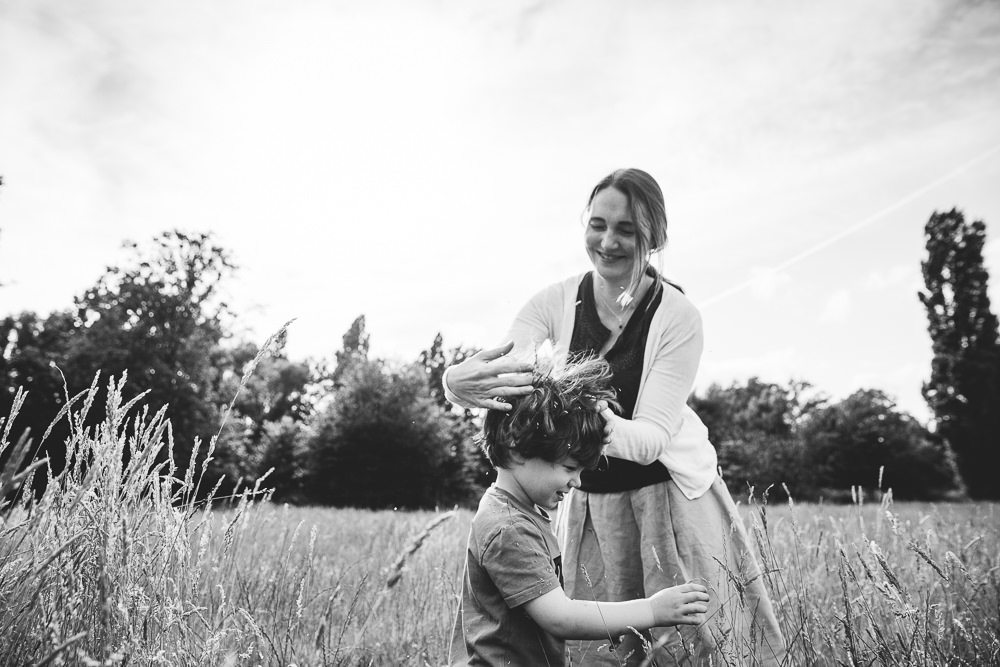 BALHAM LONDON FAMILY PHOTOGRAPHY - BOY AND MOTHER BLACK AND WHITE PORTRAIT TOOTING COMMON