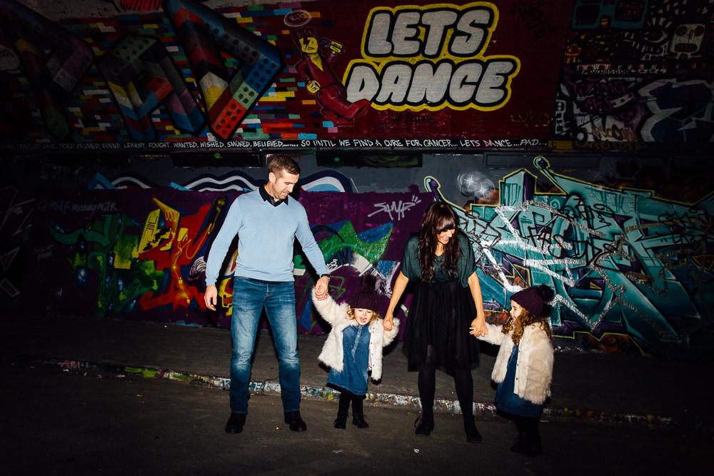 Leake street london graffiti family kids twins photographer