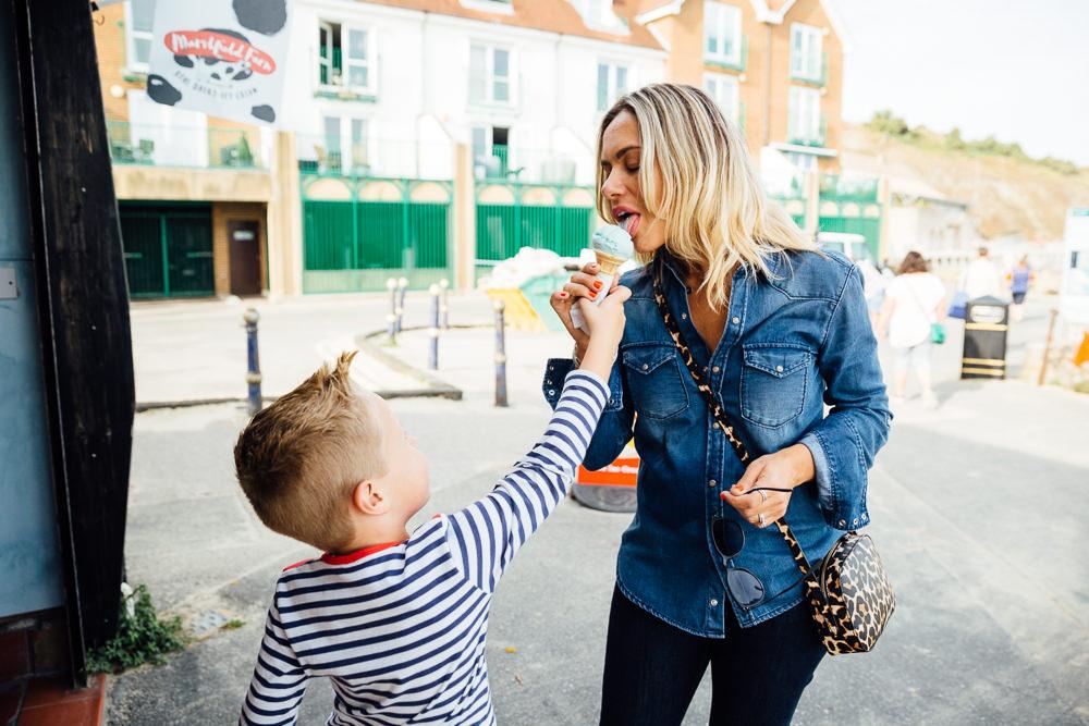 mum licking boys ice cream - Family Photographer Kent