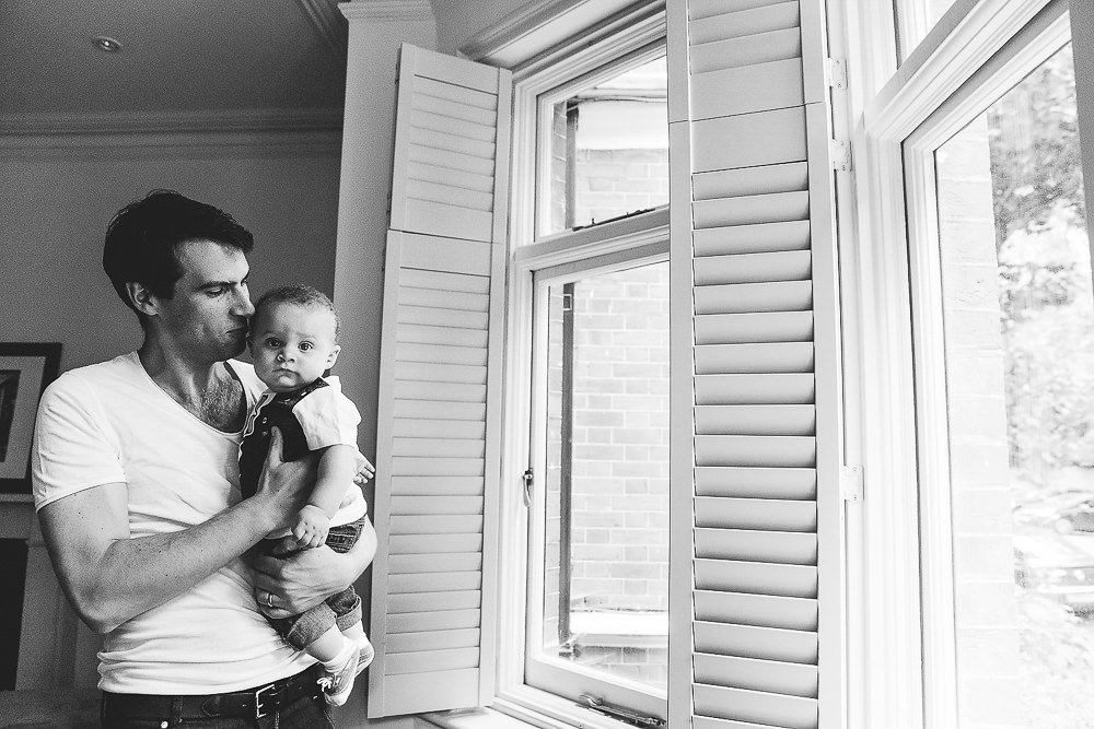 FATHER SON PORTRAIT BABY BLACK AND WHITE - KENT FAMILY PHOTOGRAPHER
