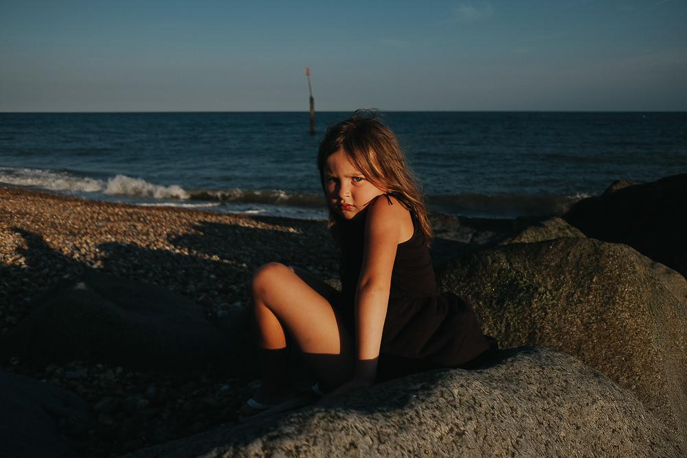 SULKING TANTRUM GIRL ON BEACH PORTRAIT - KENT FAMILY PHOTOGRAPHER