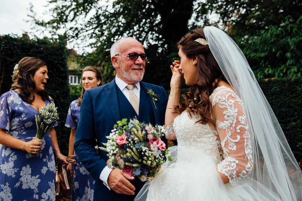 bride crying with dad bilsington priory kent wedding photographer