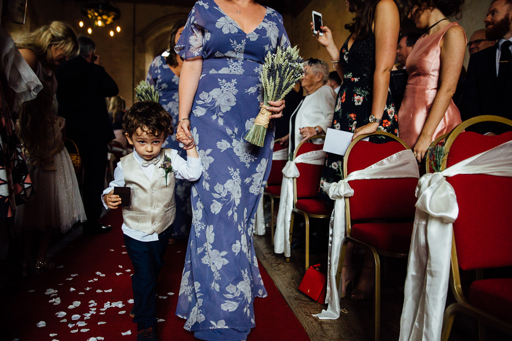 page boy ASOS bridesmaids dress aisle bilsington priory kent wedding photographer