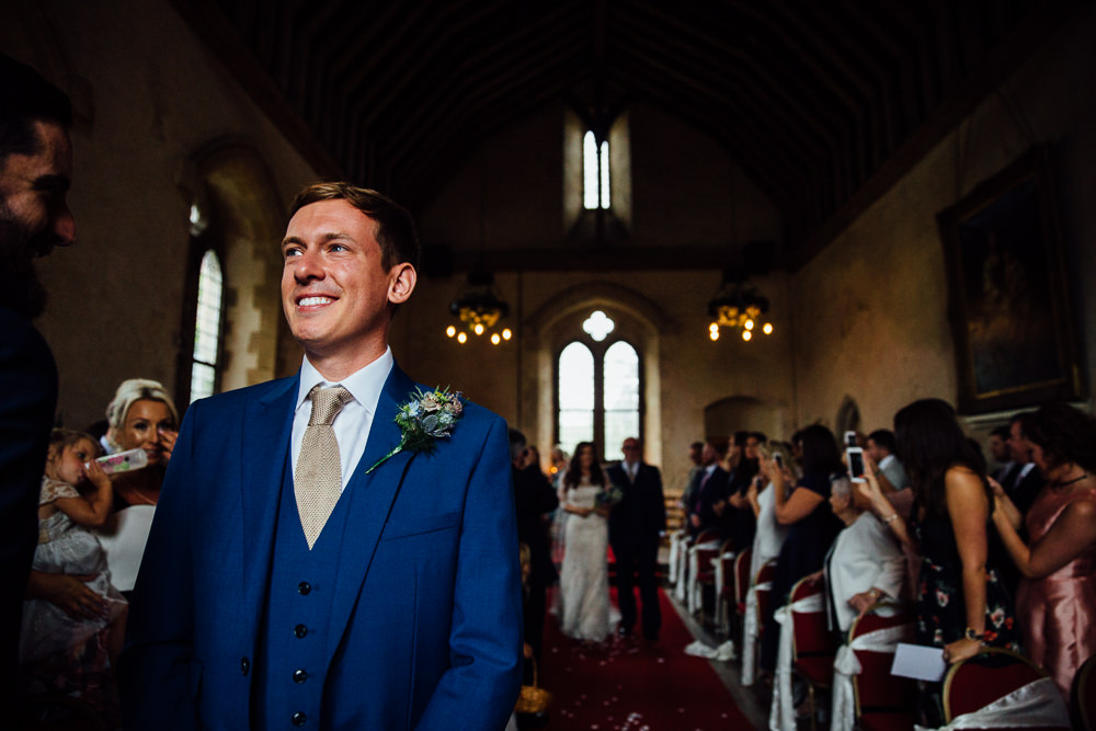 groom waiting bilsington priory kent wedding photographer