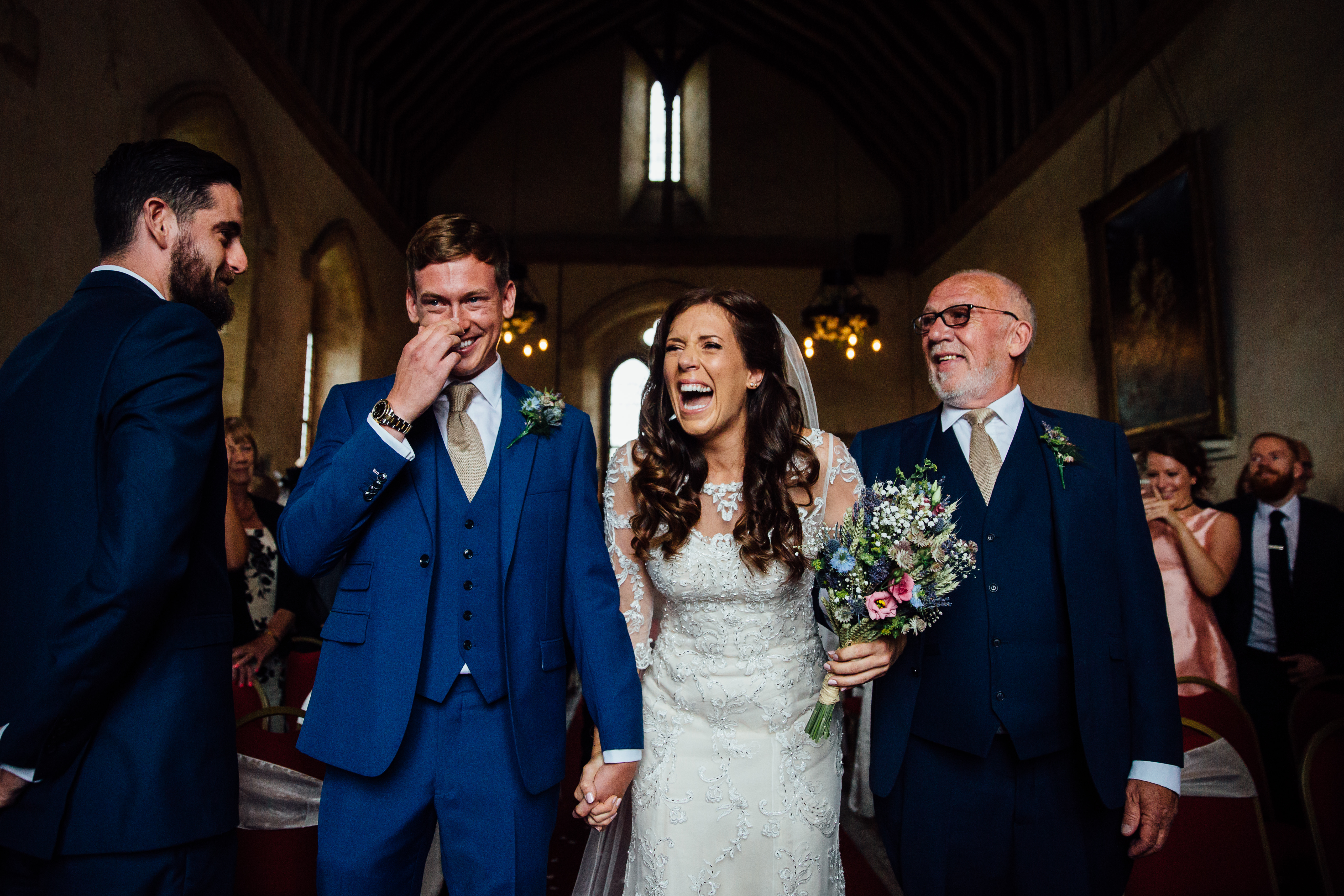 groom crying bilsington priory kent wedding photographer