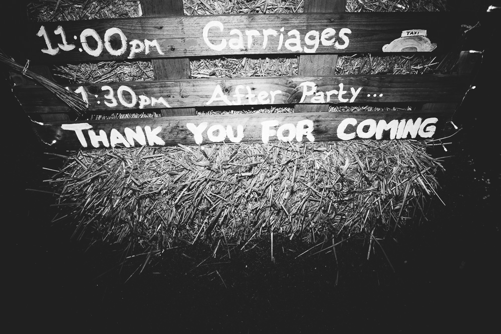 thank you for coming sign bilsington priory wedding photography