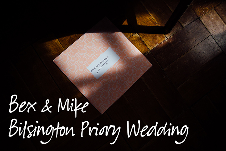 wedding card on floor in sunlight - bilsington priory wedding photography