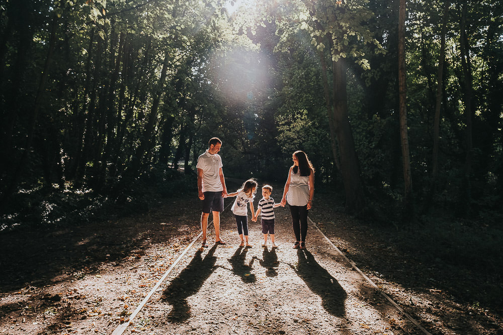FAMILY PHOTOGRAPHER KENT AND LONDON WOODLAND BACKLIT PORTRAIT CHILDREN
