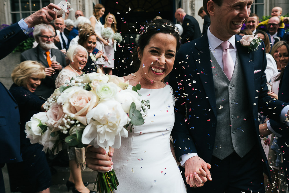 LONDON WEDDING PHOTOGRAPHER CHELSEA BLUEBIRD TOWN HALL PHOTOGRAPHY CONFETTI STEPS
