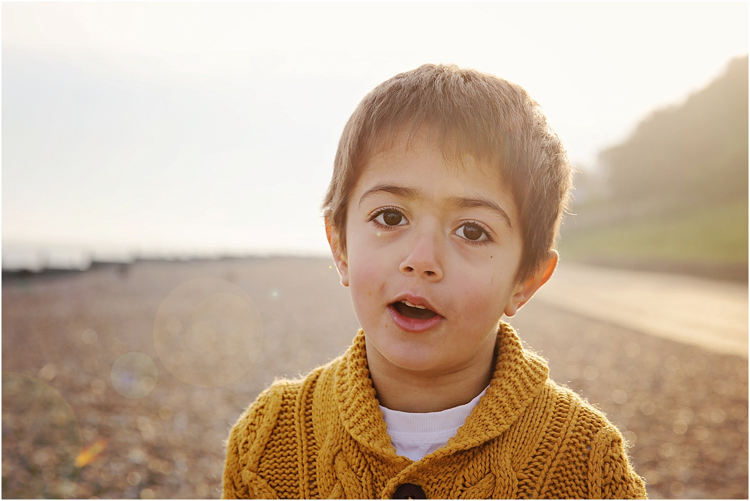 Whitstable beach photography family child boy in morning light