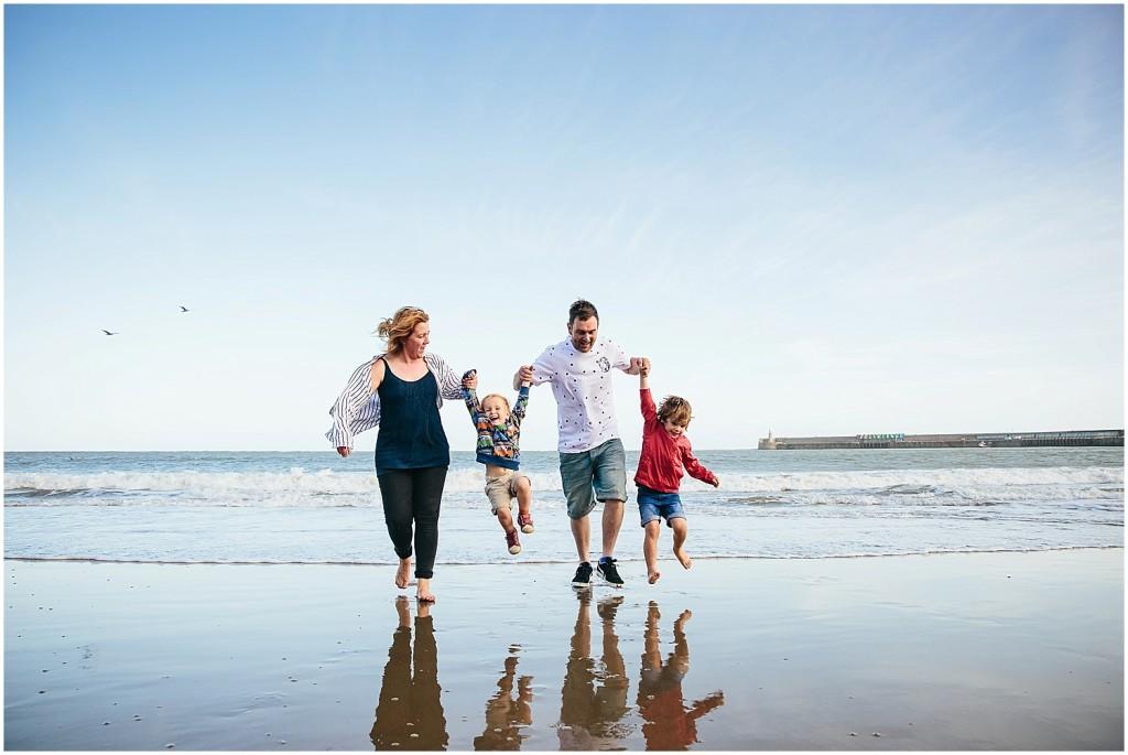 family on sunny sands beach folkestone kent family photography