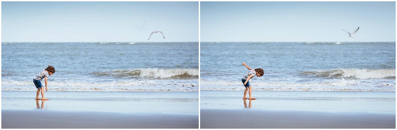 boy with seagull on sunny sands beach folkestone kent family photography