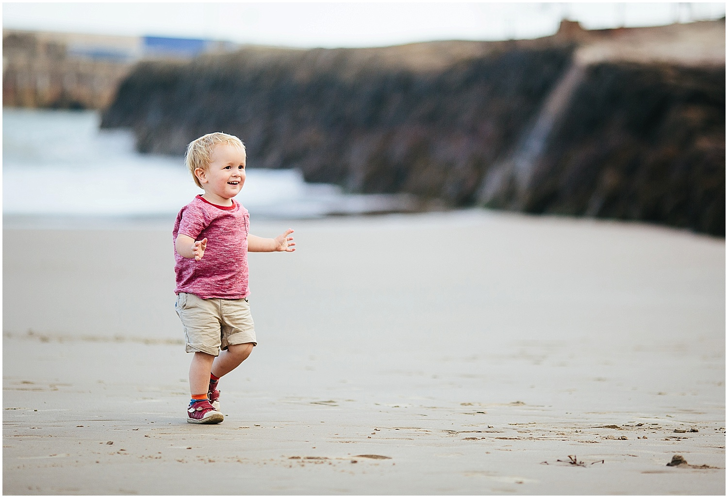 boy on sunny sands beach folkestone kent family photography