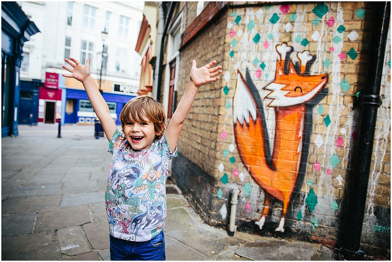 boy with fox graffiti folkestone kent family photographer