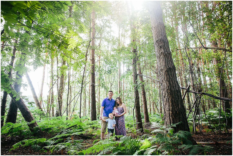 family portrait tall trees ferns woodland ashford kent kids photography