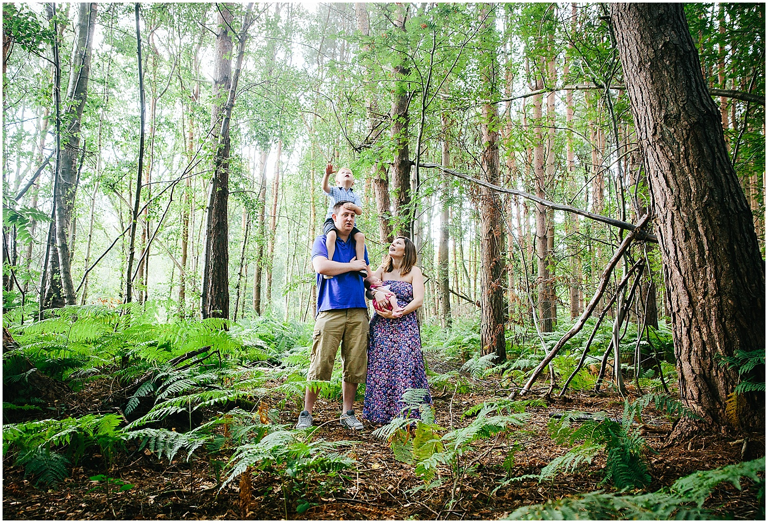 family portrait tall trees ferns woodland ashford kent kids photography