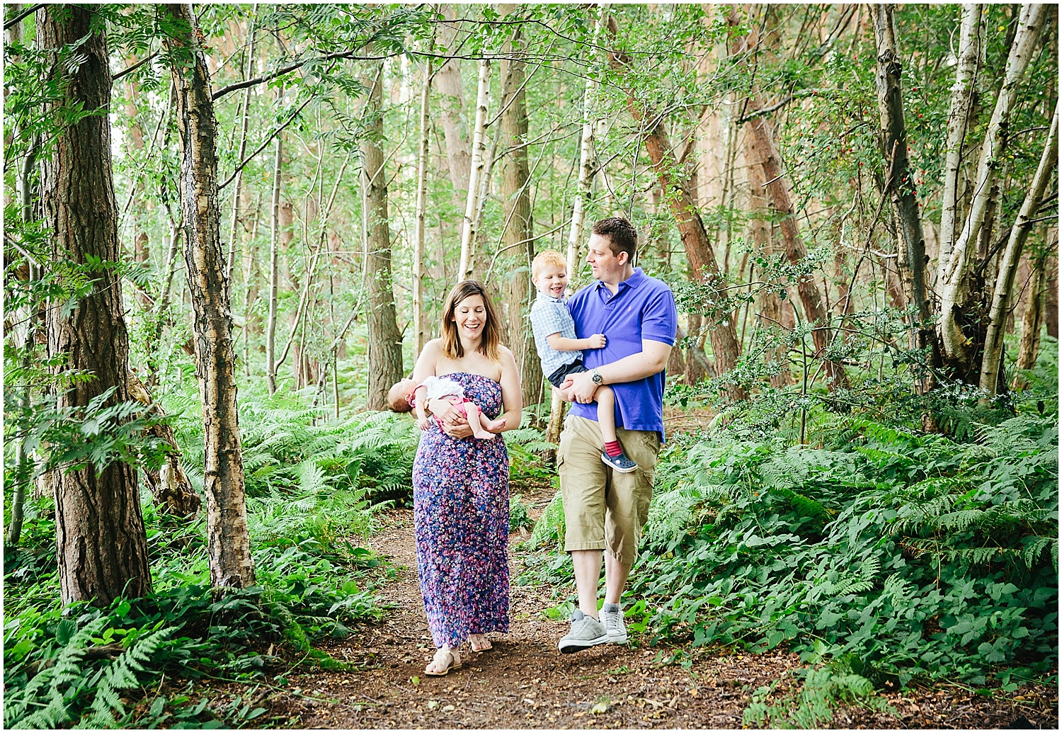 family walking in woods ashford kent photographer