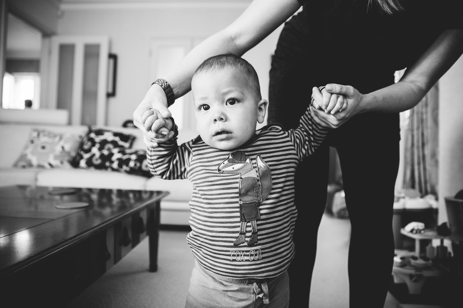 black and white baby boy walking photography at home hadley wood