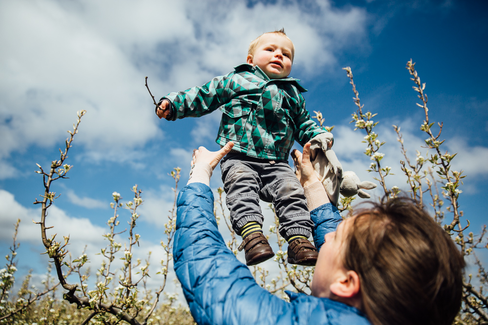 boy being thrown in air by mother playfully kent family photographer