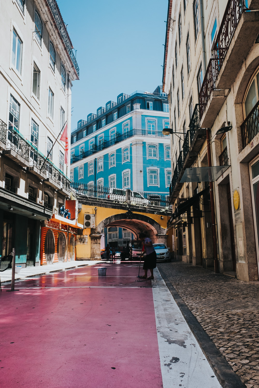 pink street, party bars area, lisbon lisboa portugal travel photography