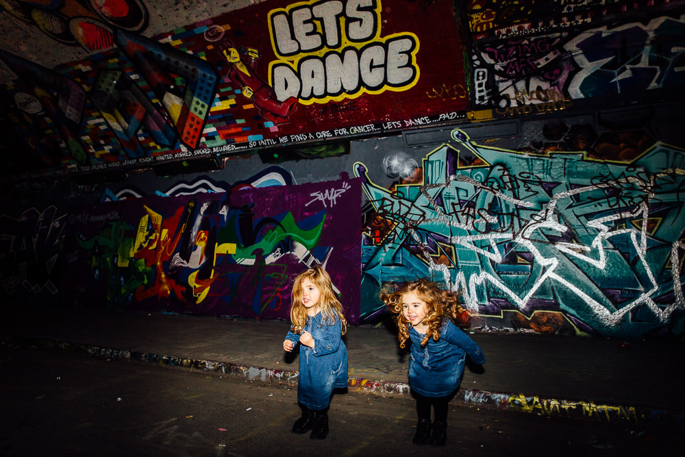 Leake street london graffiti family kids twins photographer