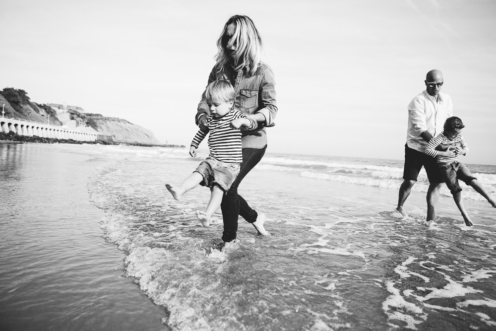 mother and son paddling sunny sands beach folkestone - Family Photographer Kent