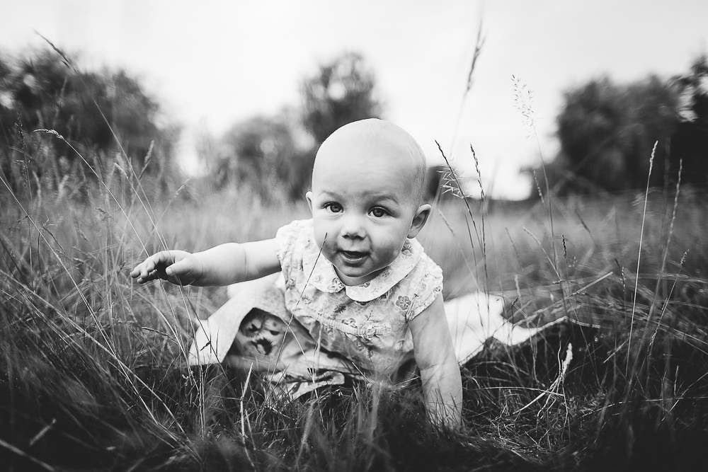 BABY CRAWLING IN GRASS - KENT FAMILY PHOTOGRAPHER