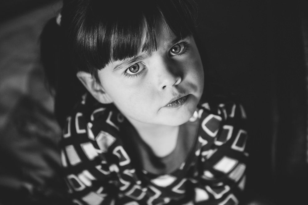 SULKING GIRL BLACK AND WHITE - KENT FAMILY PHOTOGRAPHER