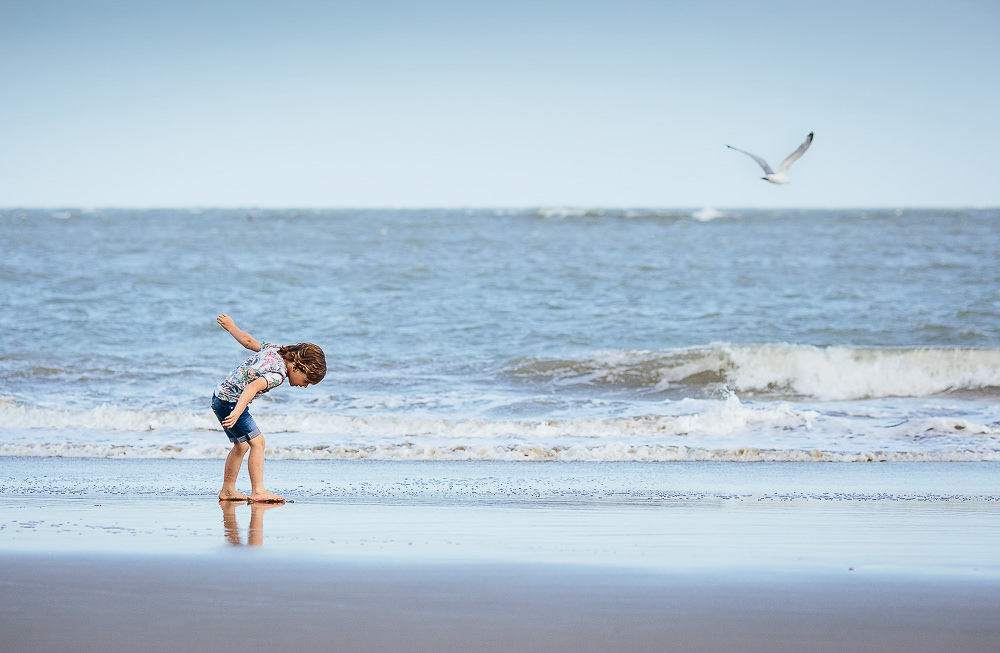 KENT FAMILY PHOTOGRAPHER - BOY WITH SEAGULL ON BEACH