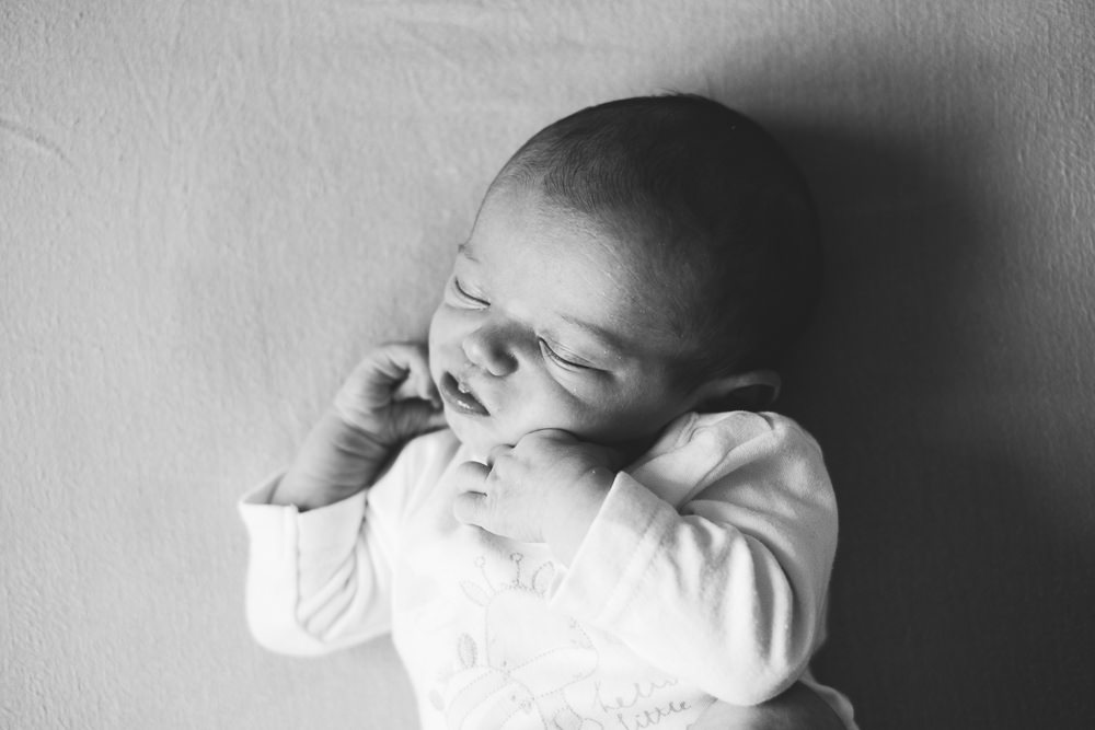 BLACK AND WHITE NEWBORN BABY PORTRAIT KENT PHOTOGRAPHER