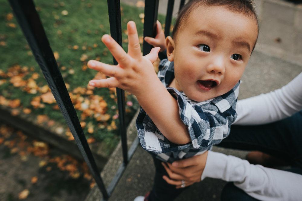 BABY BOY CHEEKY PORTRAIT RAILINGS ISLINGTON FAMILY PHOTOGRAPHER KENT AND LONDON