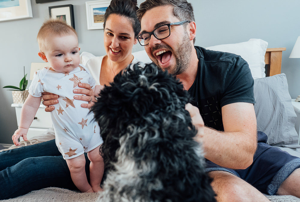 NEWBORN PHOTOGRAPHER LONDON AND KENT FAMILY PORTRAIT BABY WITH DOG