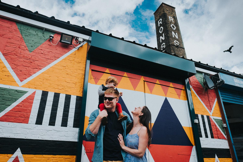 family with peckham graffiti wall london family photography