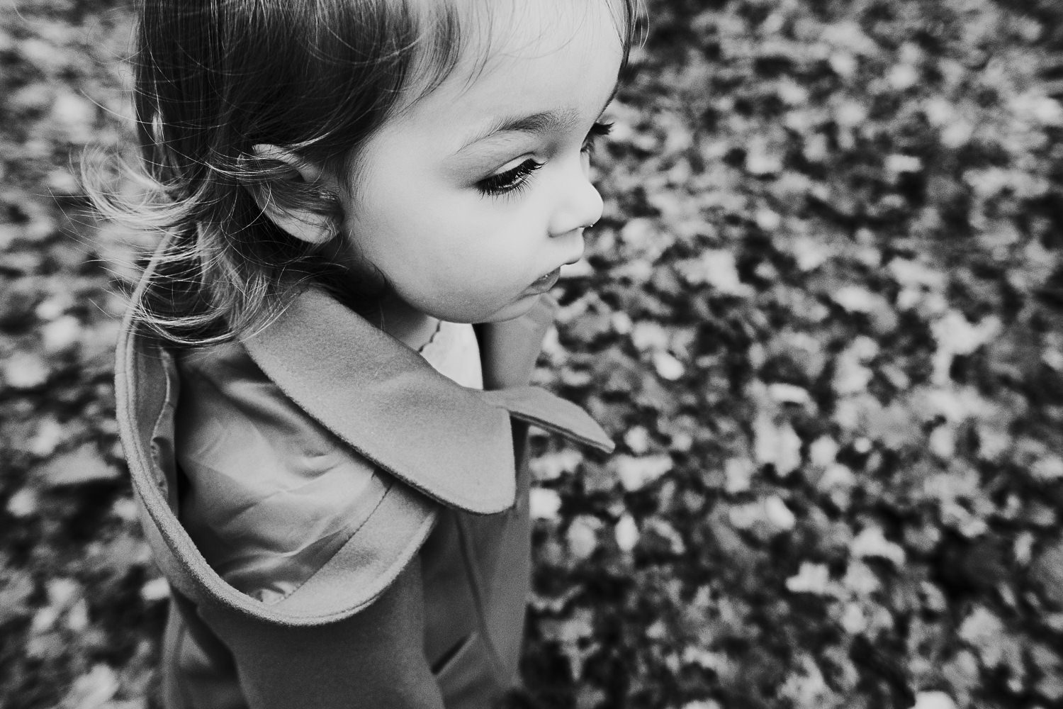 Black and white photo toddler girl in woods