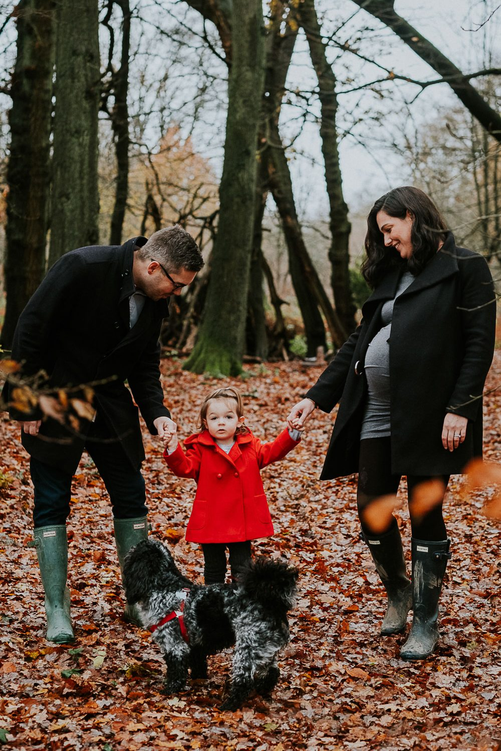 Surrey Maternity Photographer family in woods