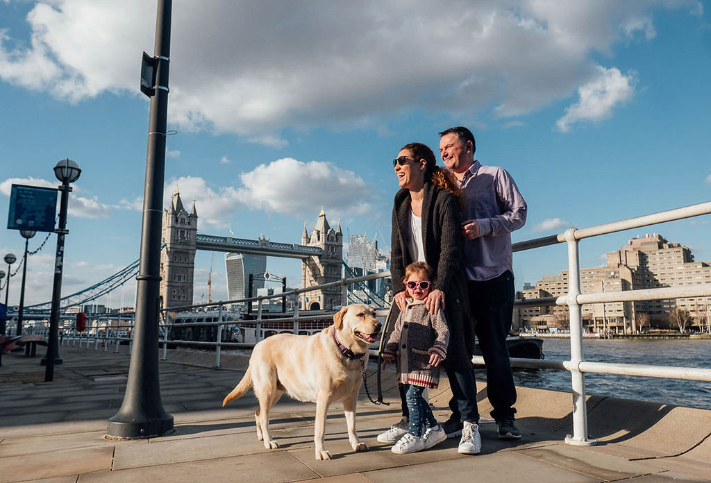 london family photographs family with toddler and dog at tower bridge