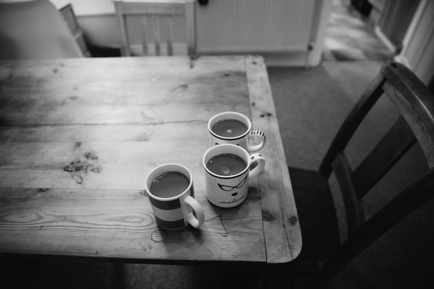 day in the life photography mugs of hot drink on dining table