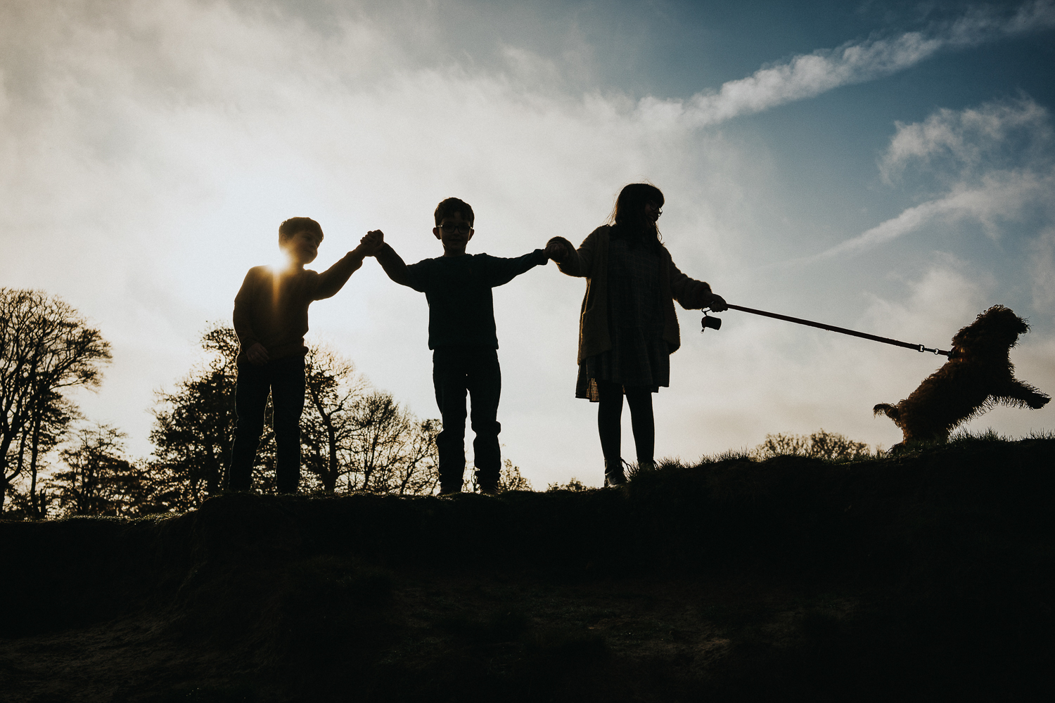 Ashford family photography 2020 silhouette three children and jumping dog
