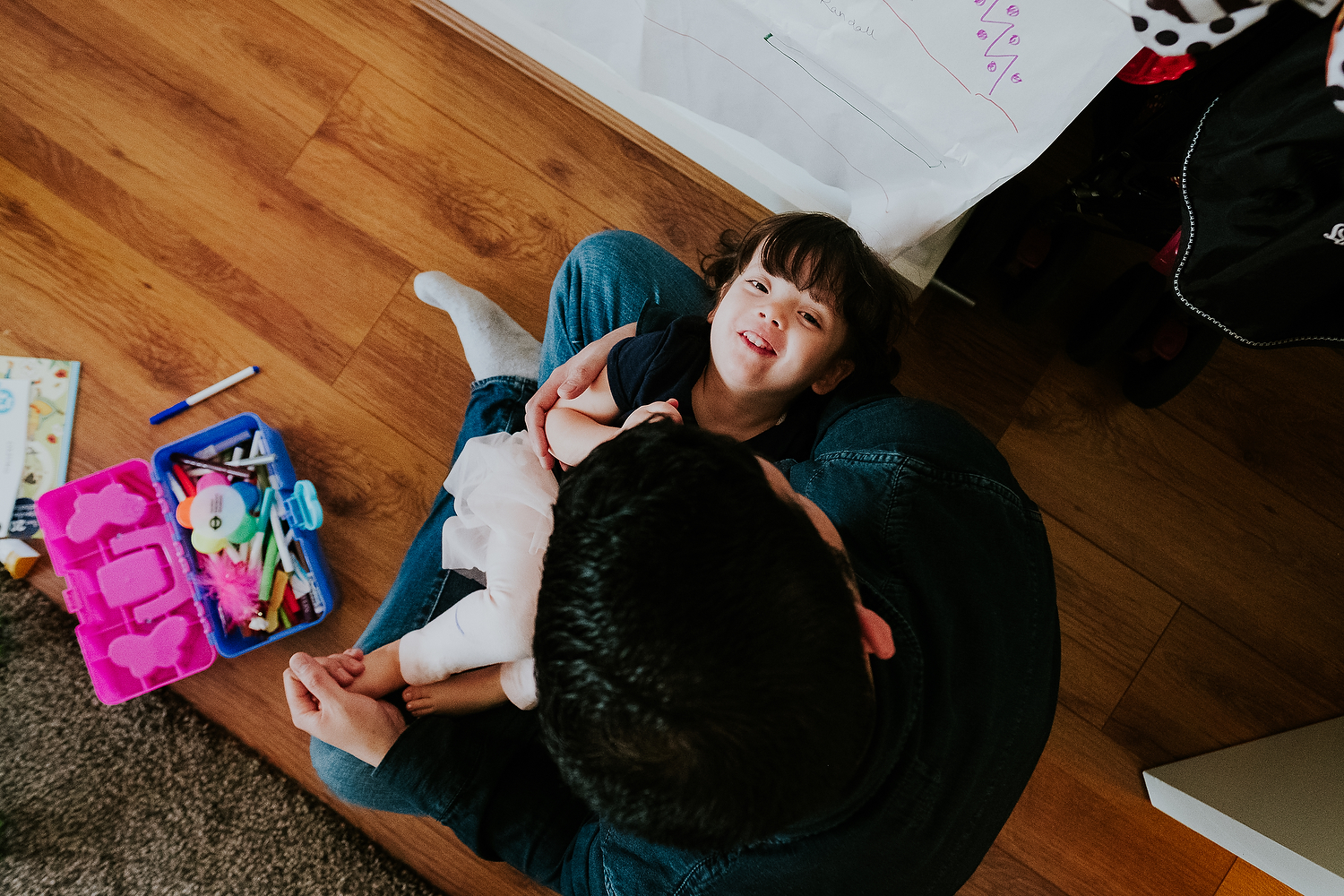 islington family photographer aerial shot of dad holding daughter with funny expression