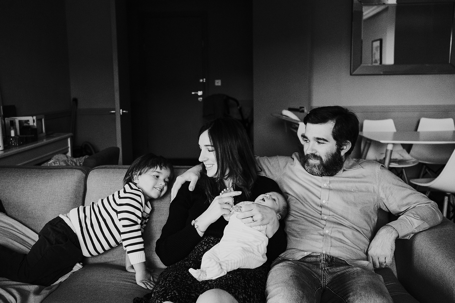 black and white portrait family newborn photography in hammersmith
