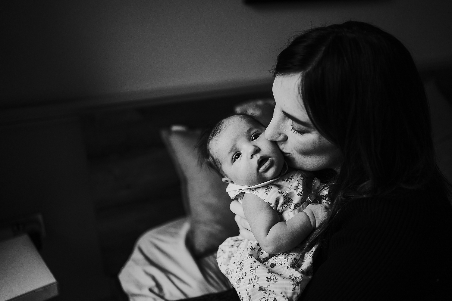 mother and baby black and white newborn photography in hammersmith